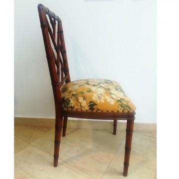 Lote de 6 sillas  falso Bambú estilo Chippendale Chinoiserie