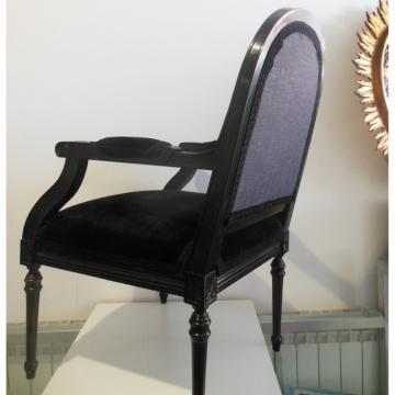 Sillón Luis XVI (lote 2) negro vintage Siglo XX