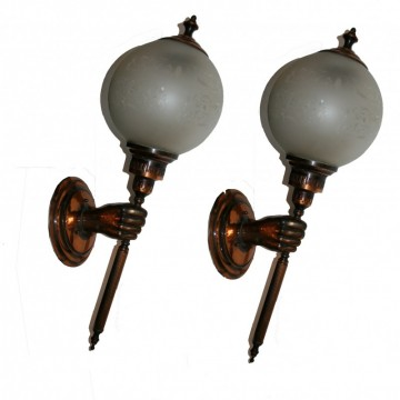 Pair of  french copper Sconces Style Art Deco from the 20th Century 69x23 cm