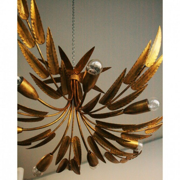 lamp Midcentury. Golden leaves gold leaf