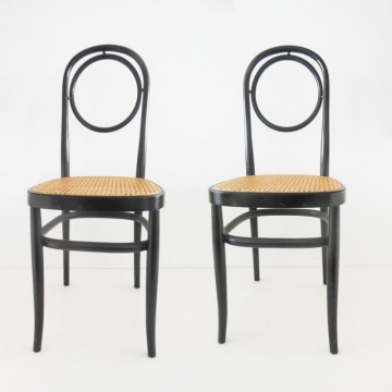 Duo de sillas estilo Thonet   color negro ebanizado