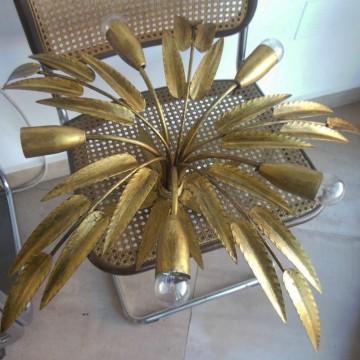Lampara hojas dorada vintage
