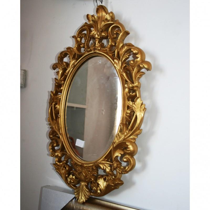 Espejo dorado barroco for Espejo dorado bano