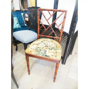 Lote de 6 sillas de falso Bambu estilo Chippendale