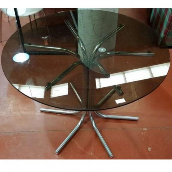 Mesa vintage cristal y cromado(solo base)