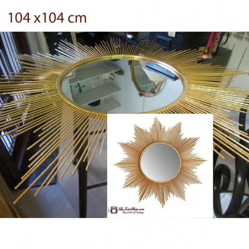 Espejo sol dorado grande for Espejo dorado grande