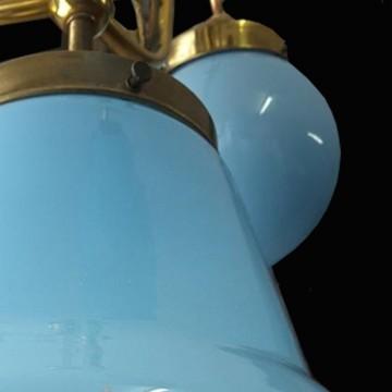 Lampara de techo Art Nouveau opalinas azules